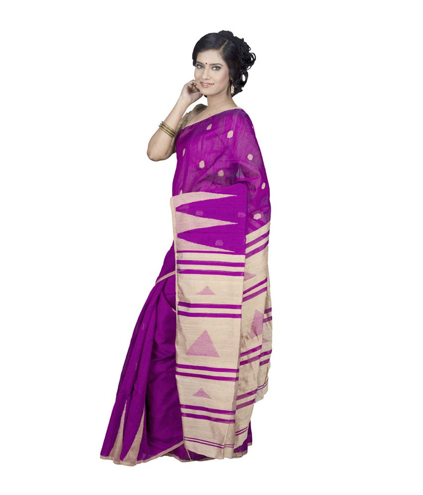60% cheap cheaper sale thoughts on Hawai Pink and Purple Cotton Bengal Tant Saree