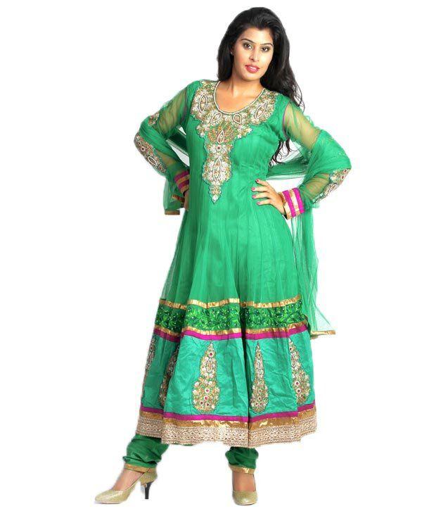 Maurvi Presents A Designer Green Color Multi Work Anarkali Suit