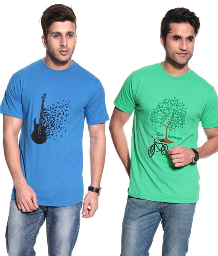 Posh 7 Royal Blue & Green Combo Of 2 T Shirt
