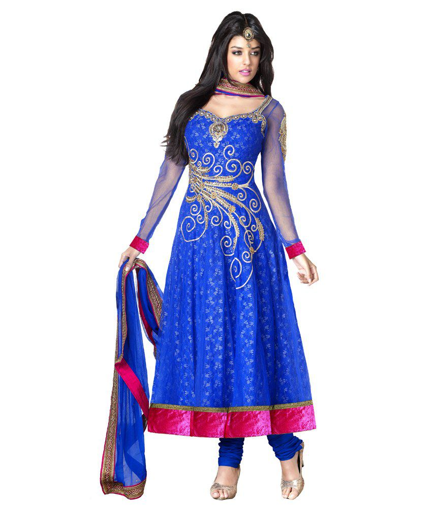 Resham Fabrics Blue Color Semi-stitched Designer Dress Material / Rf-7503