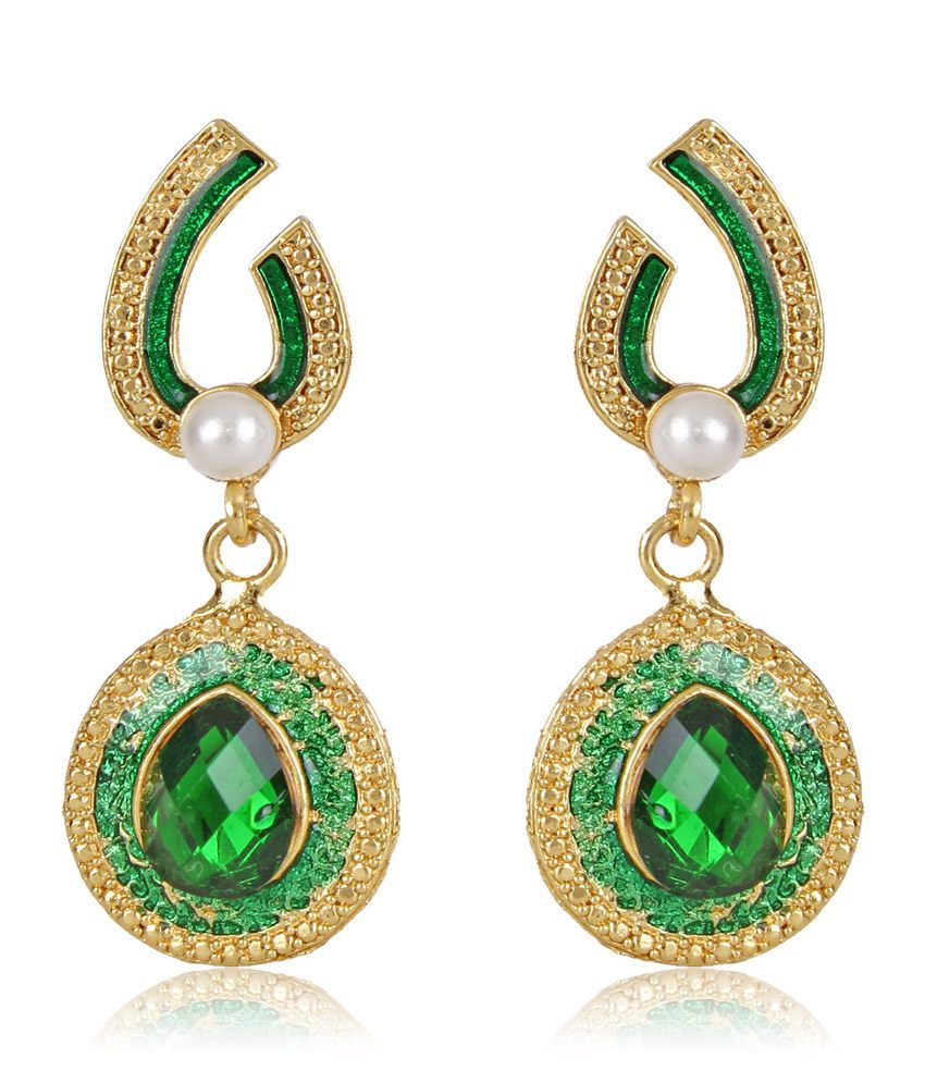 Shining Diva Beautiful Green Stone Earrings