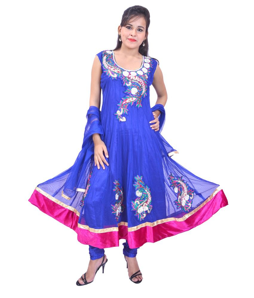 Krazzy Collection Blue Net Stitched Embroidered Anarkali