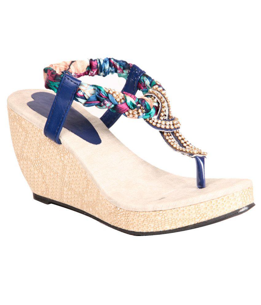 Ignis Blue Wedges Sandals