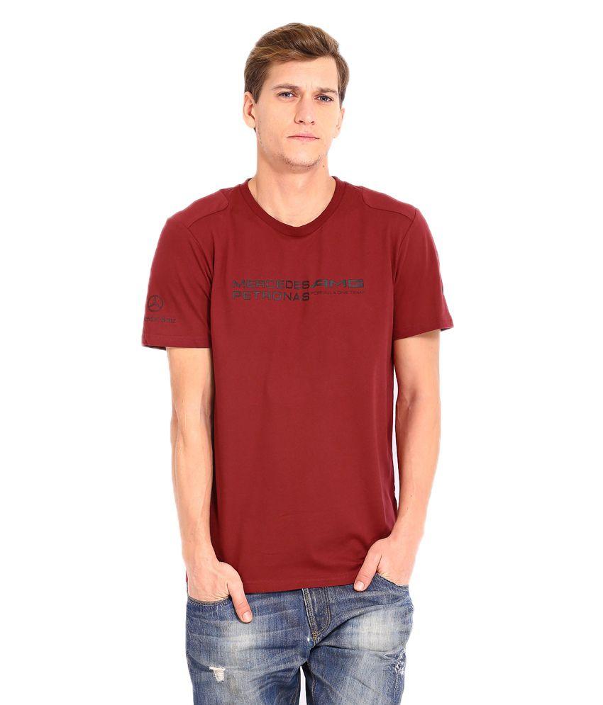 Puma Maroon Cotton  T-Shirt