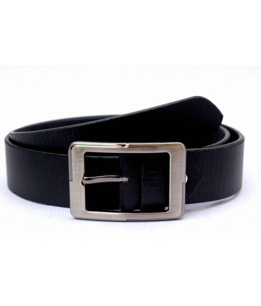 Tops Black Colured Zebra Print Leather Belt
