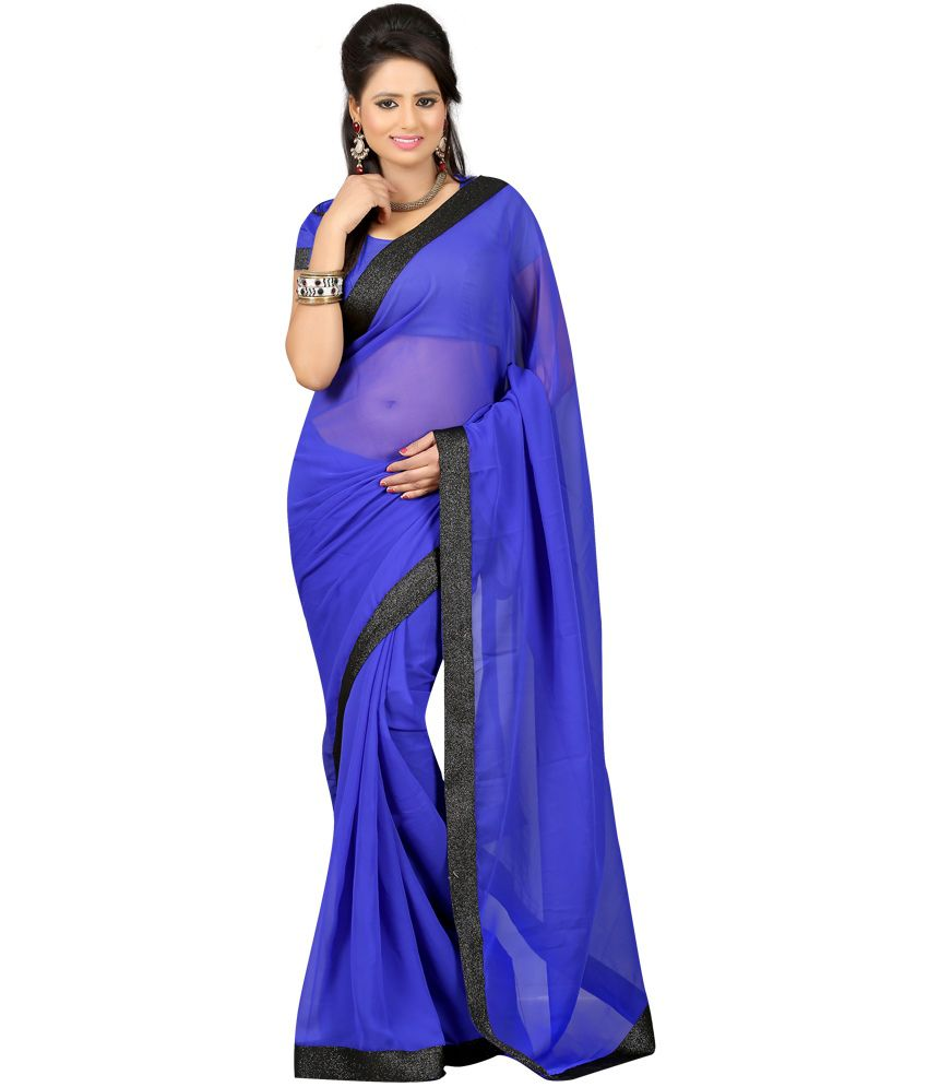 Ansu Fashion Amazing Blue Colour Georgette Saree With Blouse Piece