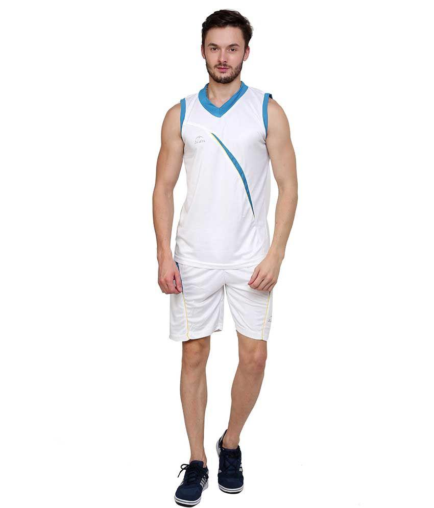 Dida  White Polyester V-neck Sleeveless Basket Ball Combo Kit