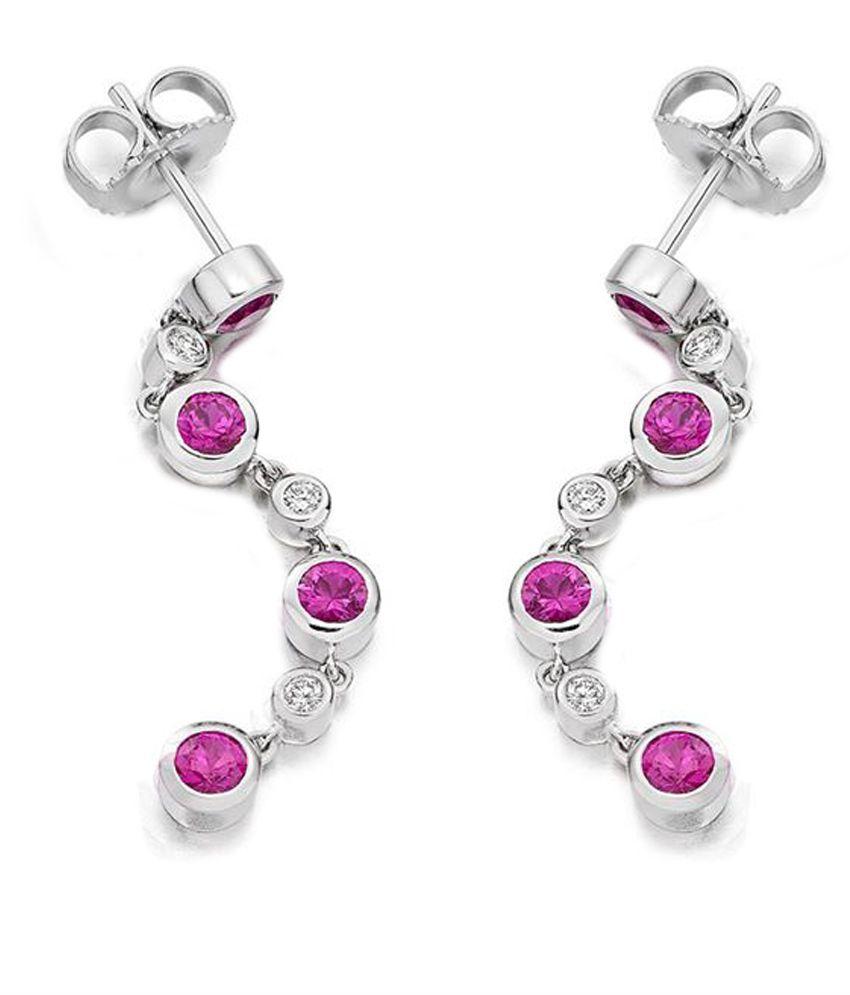 Jacknjewel Tender Ruby Contemporary Diamond Earrings
