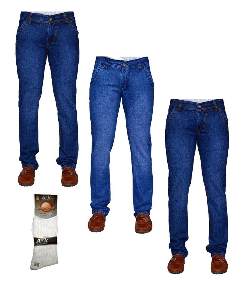 Kaasan Men's Denim With 1 Pair Of Assorted Socks - Combo Of 3