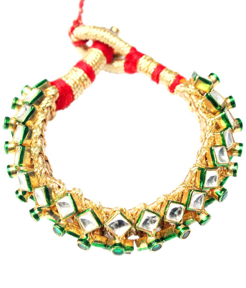 Mdk Jewellers Trendy Gold Plated Imitation Polki Bracelets