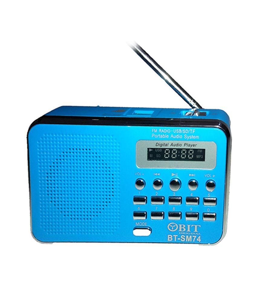 buy obit digital usb fm radio player blue online at best. Black Bedroom Furniture Sets. Home Design Ideas
