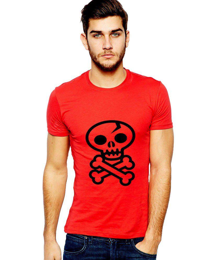 Ilyk Danger Skull Men Red Printed T-shirt