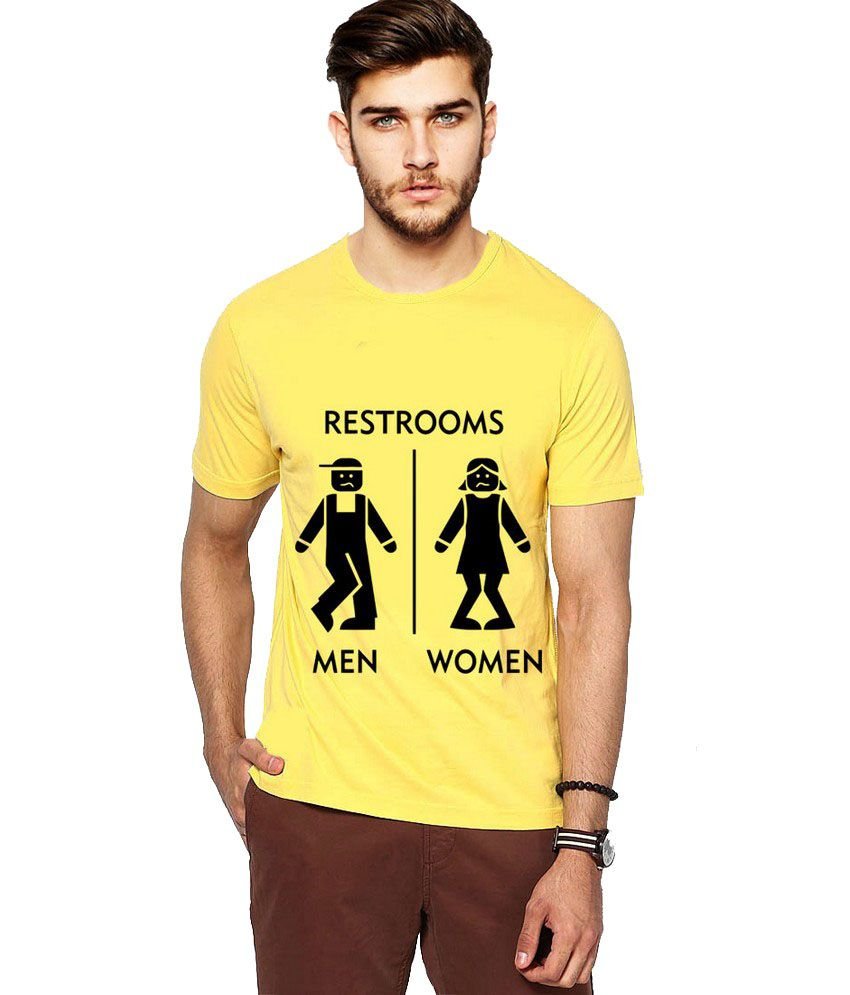 Ilyk Funny Restroom Men Yellow Printed T-shirt