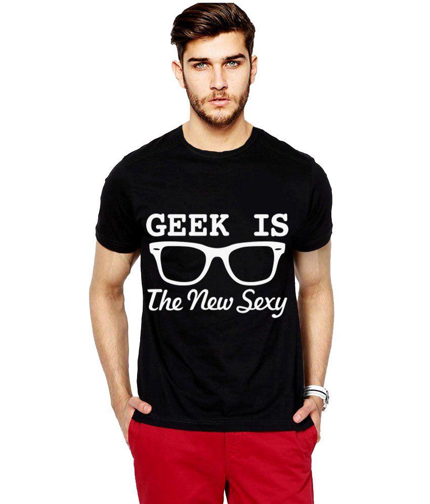 Ilyk Geek Is Sexy Men Black Printed T-shirt
