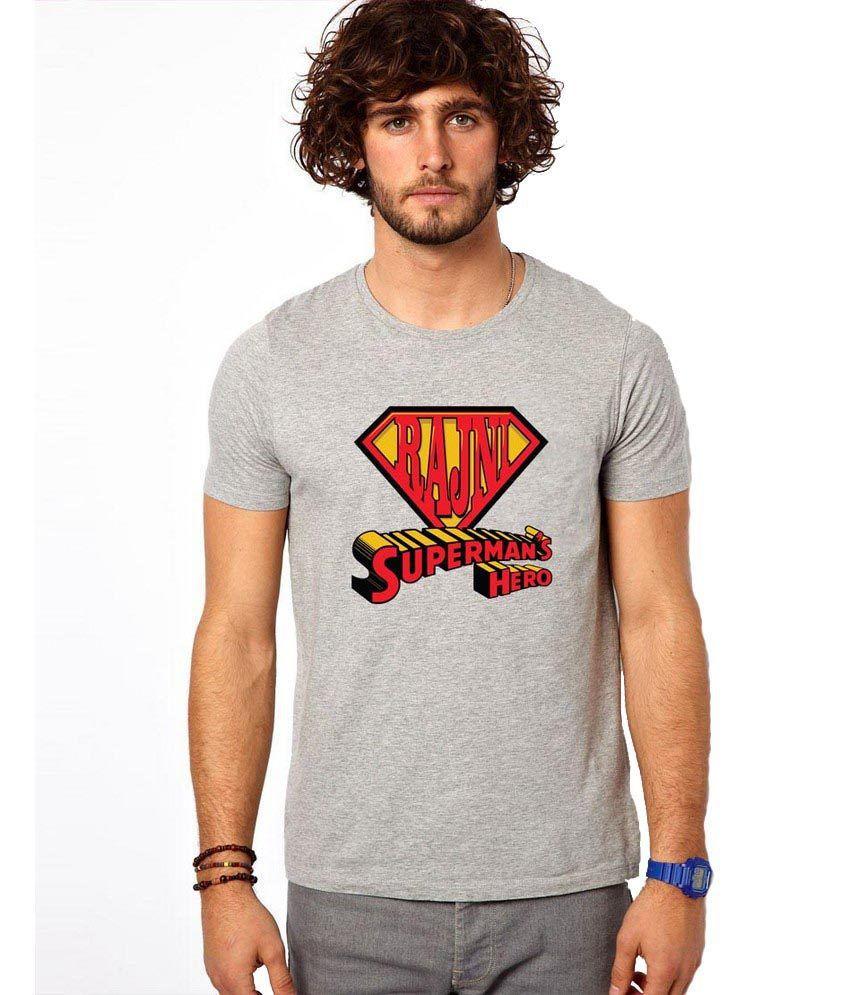 Ilyk Rajni Supreman's Hero Men Grey Printed T-shirt