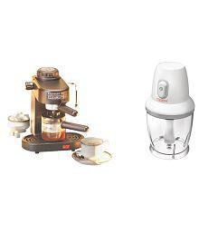 Clearline 1 Ltr Clearline - Combo Of Espresso Coffee Maker + Mini Chopper / Mixer Coffee Maker