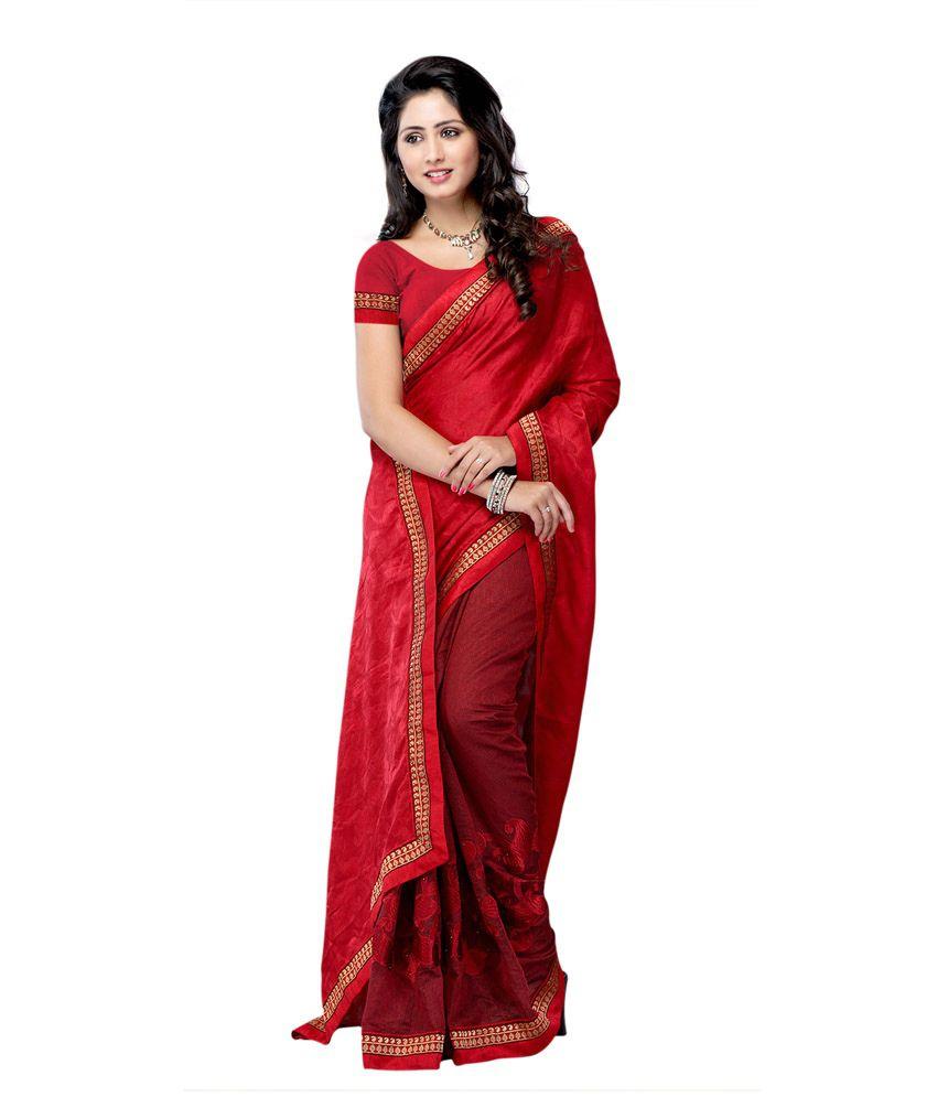 Designer Suvastram Women Net And Jacquard Maroon Reshm Work Saree
