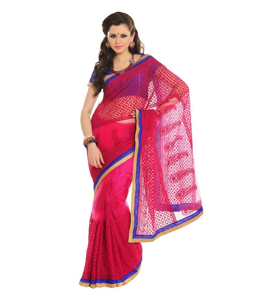 Aishwarya Design Studio Pink Net Saree