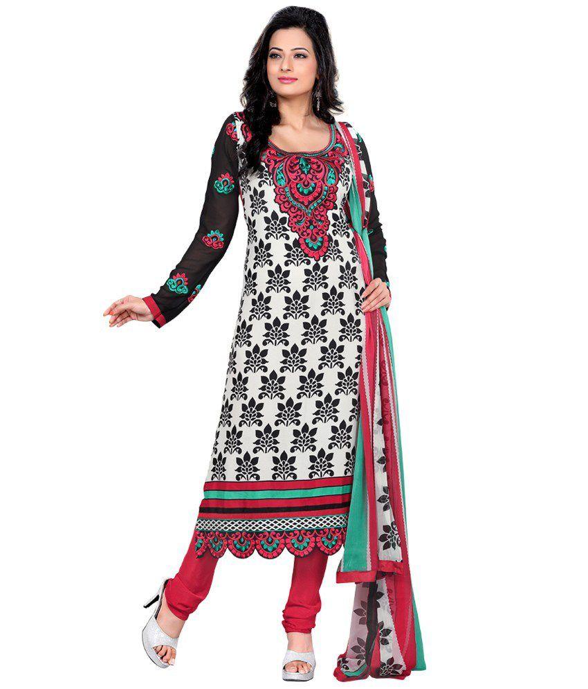 Prafful White Cotton Unstitched Dress Material