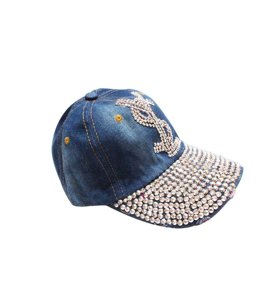Rhinestone Us Dollar shaped denim jean snapback caps (Blue)