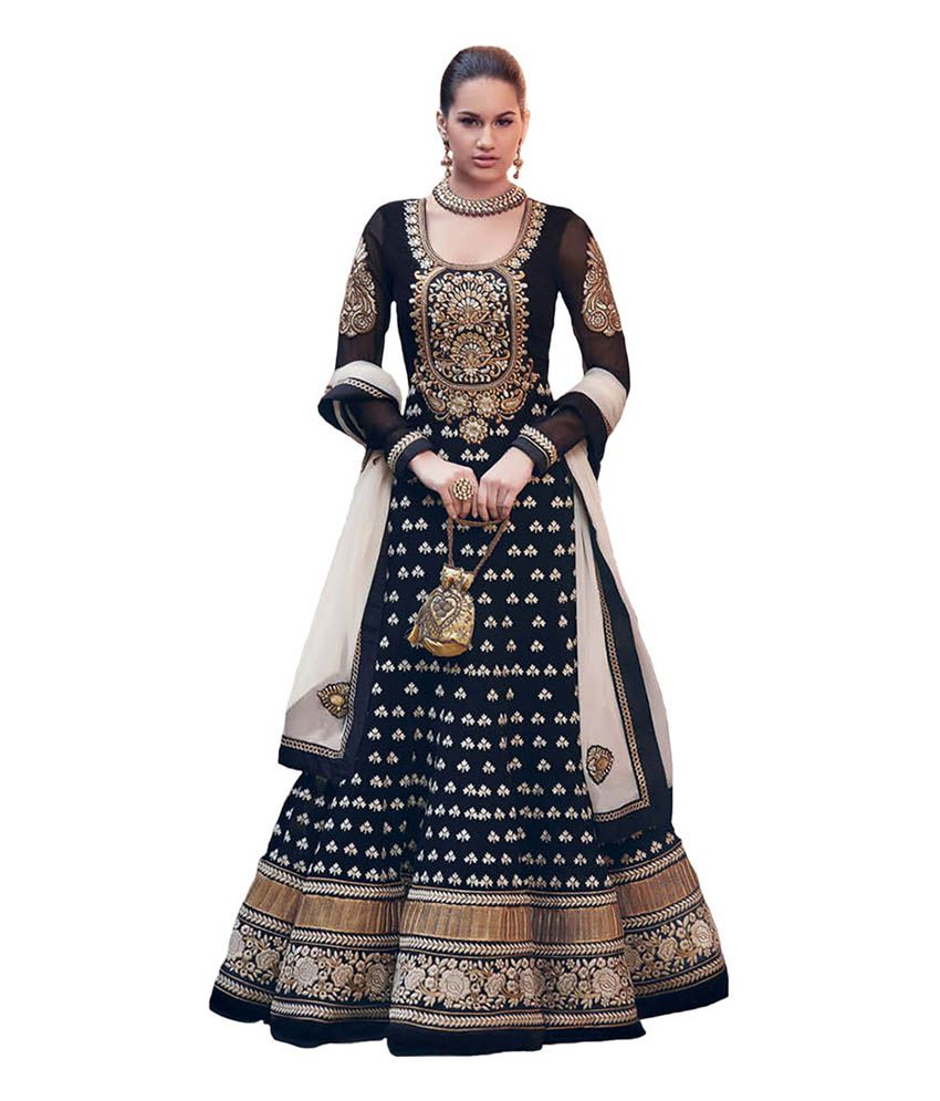 Aishwarya Design Studio Black Embroidered Georgette Semi Stitched ...