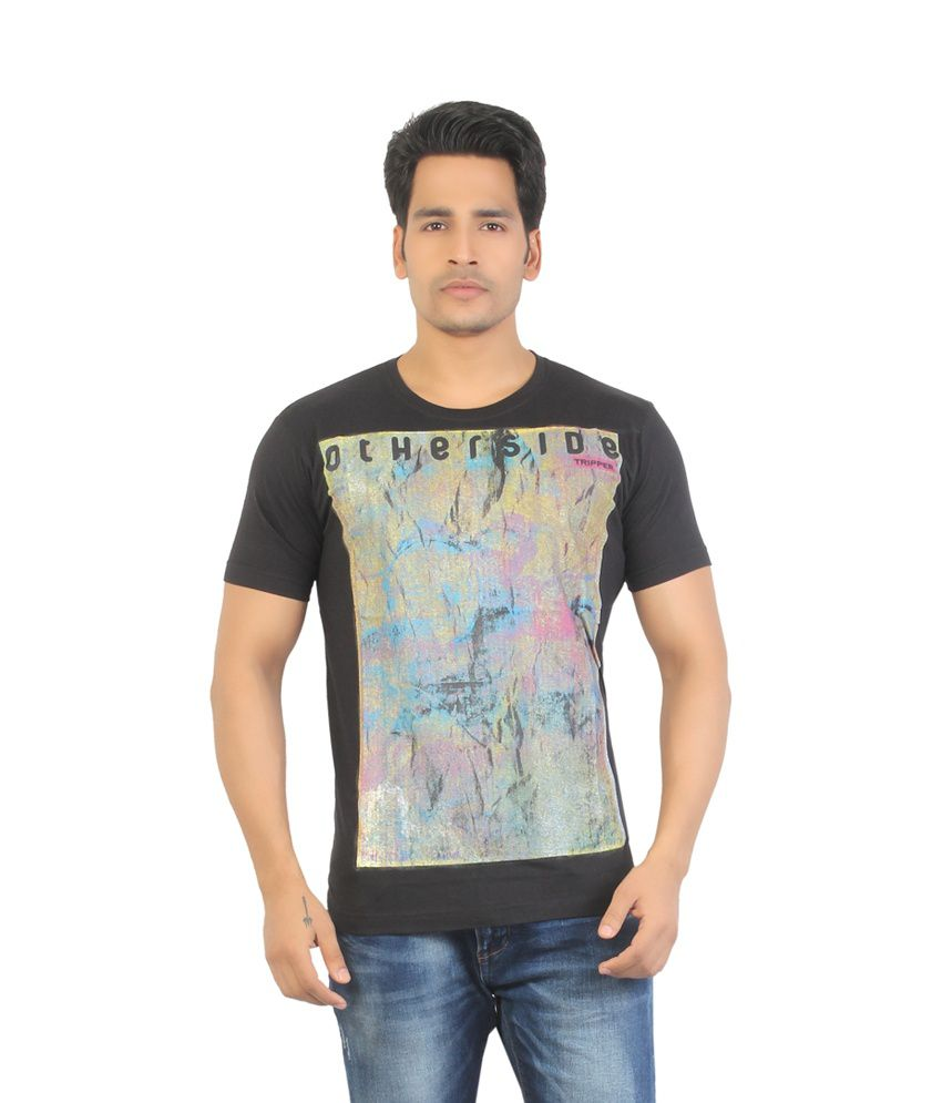 Aliep Stylish Black Printed Half Sleeves T-shirt For Men