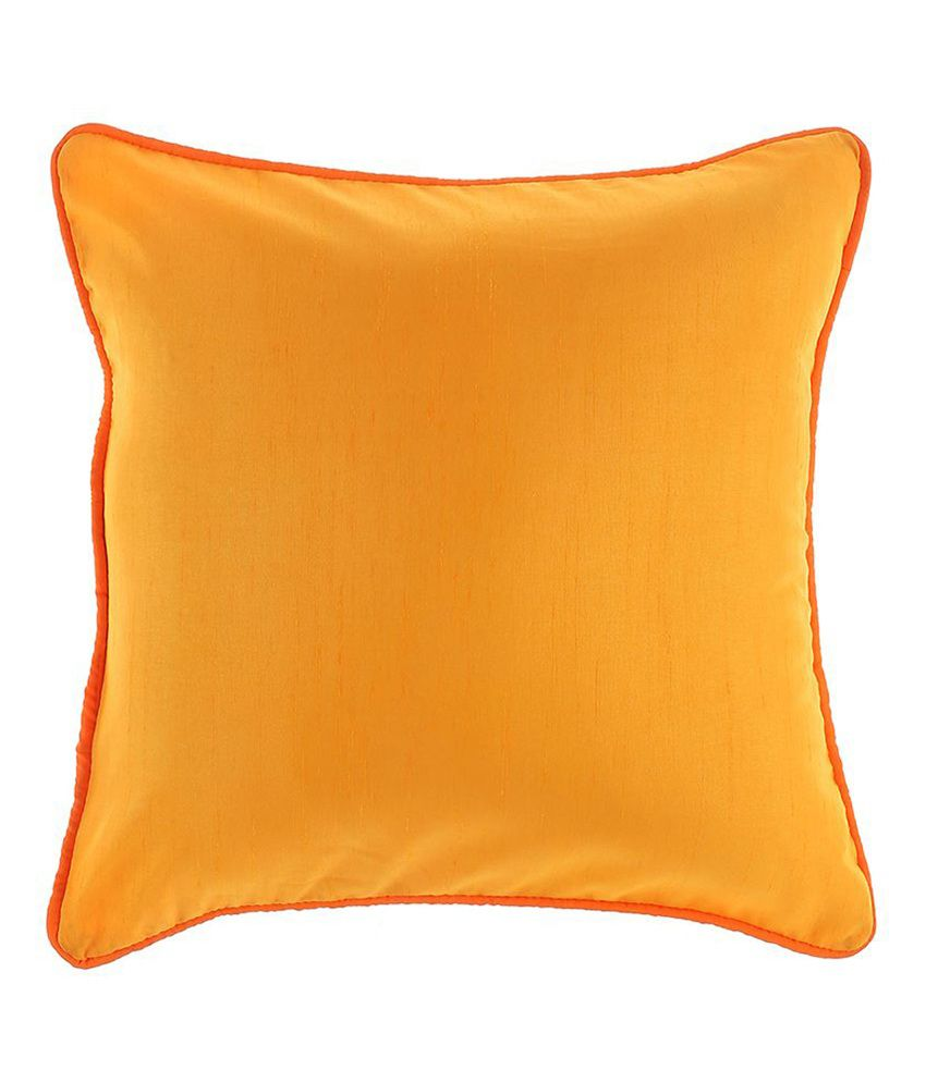 Jeel Gold Plain Polyester Cushion Covers Combo Of 6