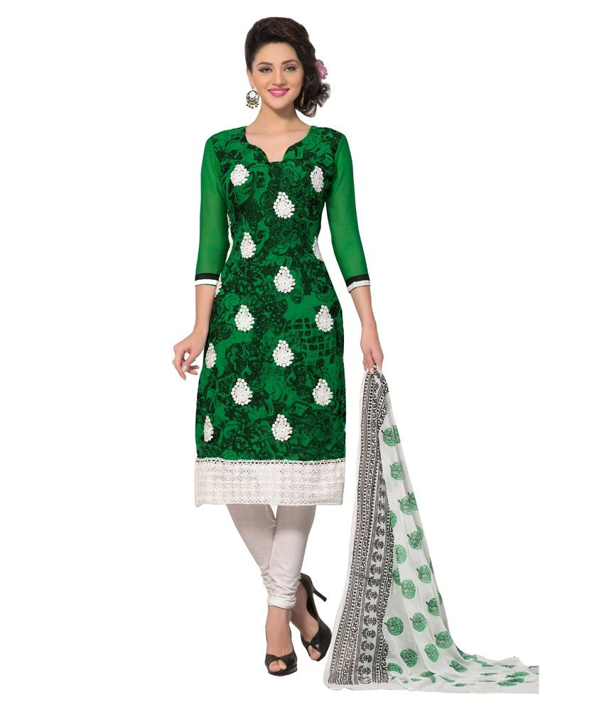 Lookslady Green Faux Georgette Unstitched Dress Material