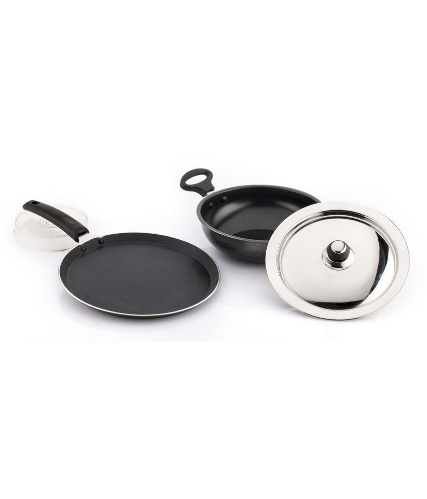 Mahavir Metallic Gray Stainless Steel 1 Ltr Kadhai And Dosa Tawa (3 Pcs)
