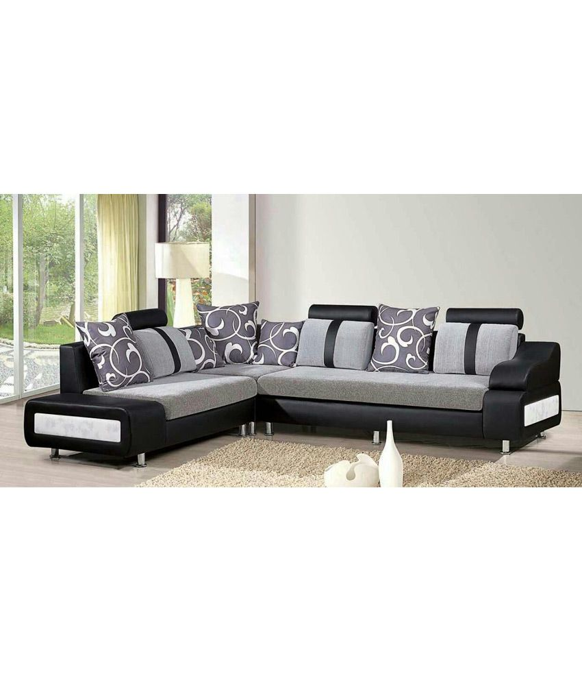 Godrej 3 piece luxury black 7 seater sofa buy godrej 3 for Sofa 7 seater