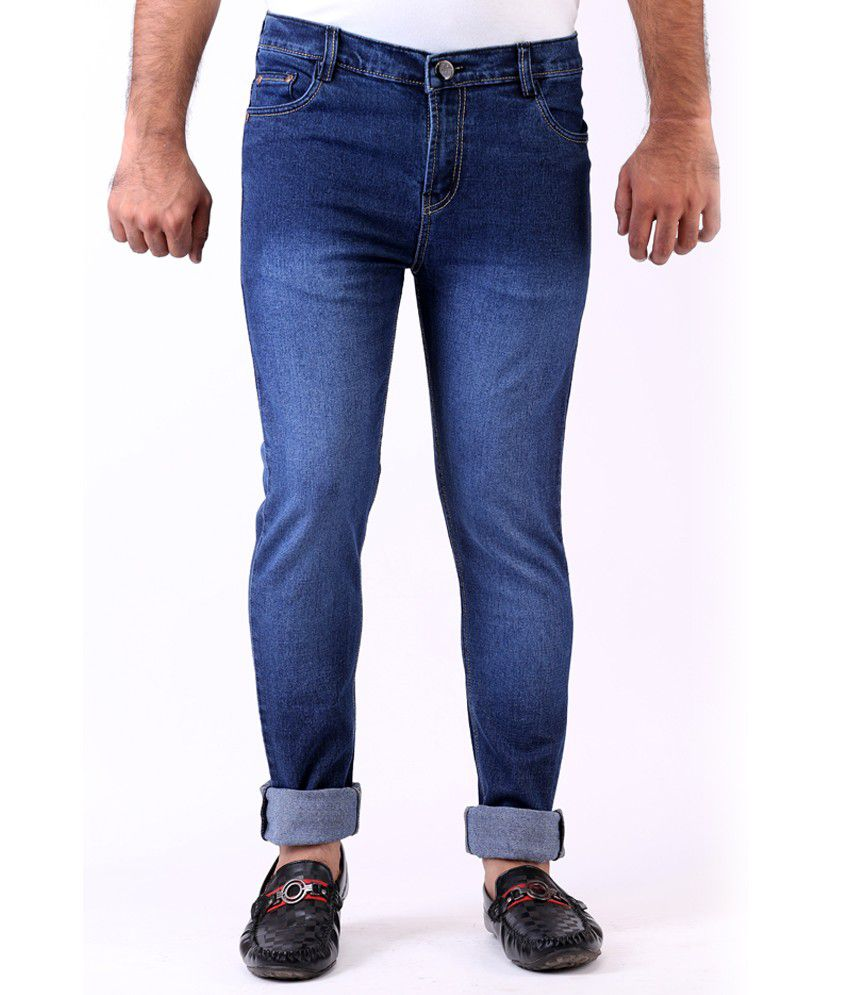 Haltung Faded Streachable Blue Men Denim Slim Fit Jeans