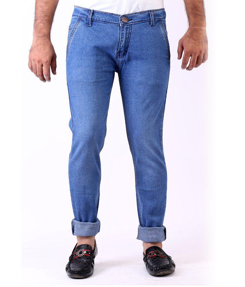 Haltung Faded Streachable Blue Men Denim Jeans
