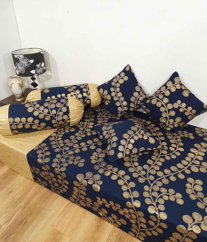 Heritage blue contemporary cotton diwan set single bed for Single bed diwan set
