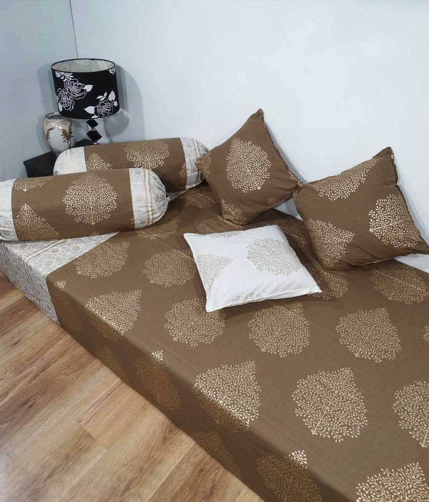 Heritage Brown Paisley Cotton Diwan Set (single Bed Sheet W/3 Cushion Covers & 2 Bolster Covers)
