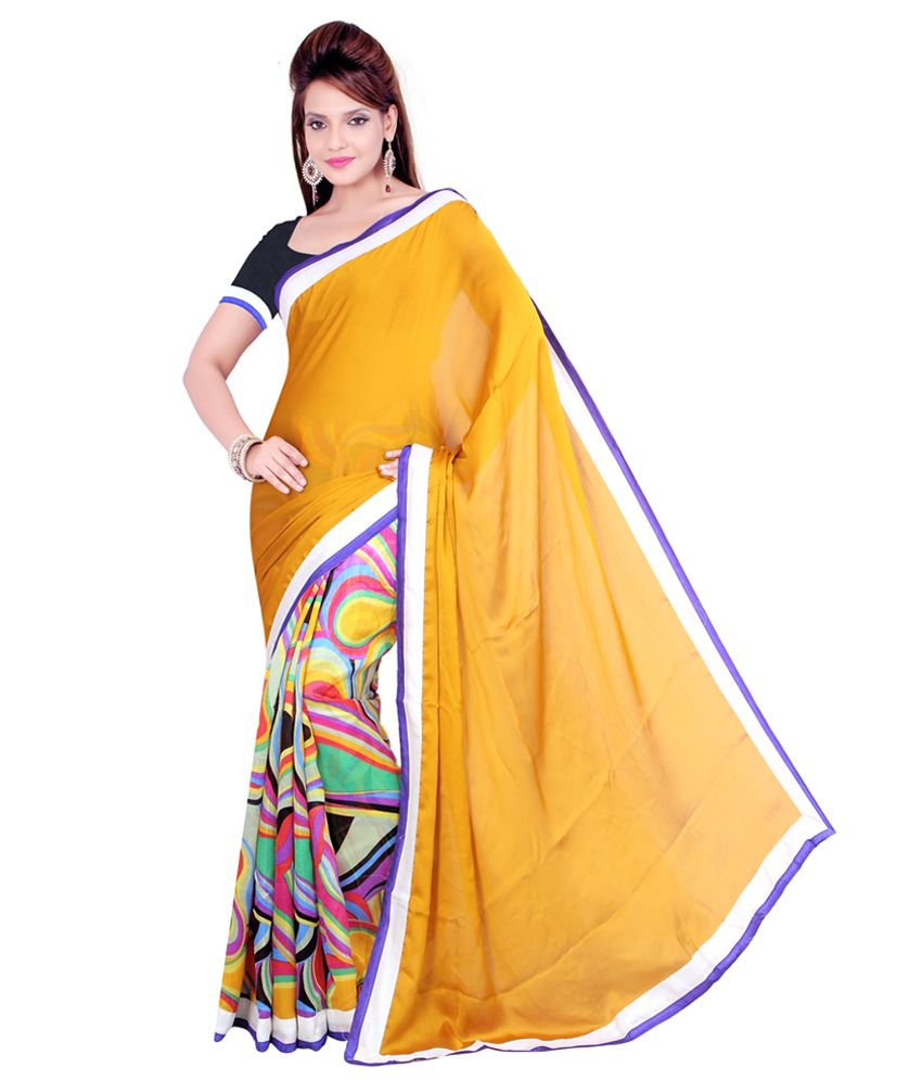 I Designer Multicoloured Chiffon Saree
