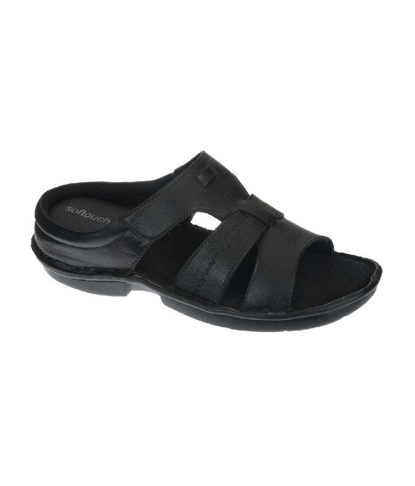 42141ecbe Khadim s Softouch Black Slip-on Sandals Price in India- Buy Khadim s  Softouch Black Slip-on Sandals Online at Snapdeal