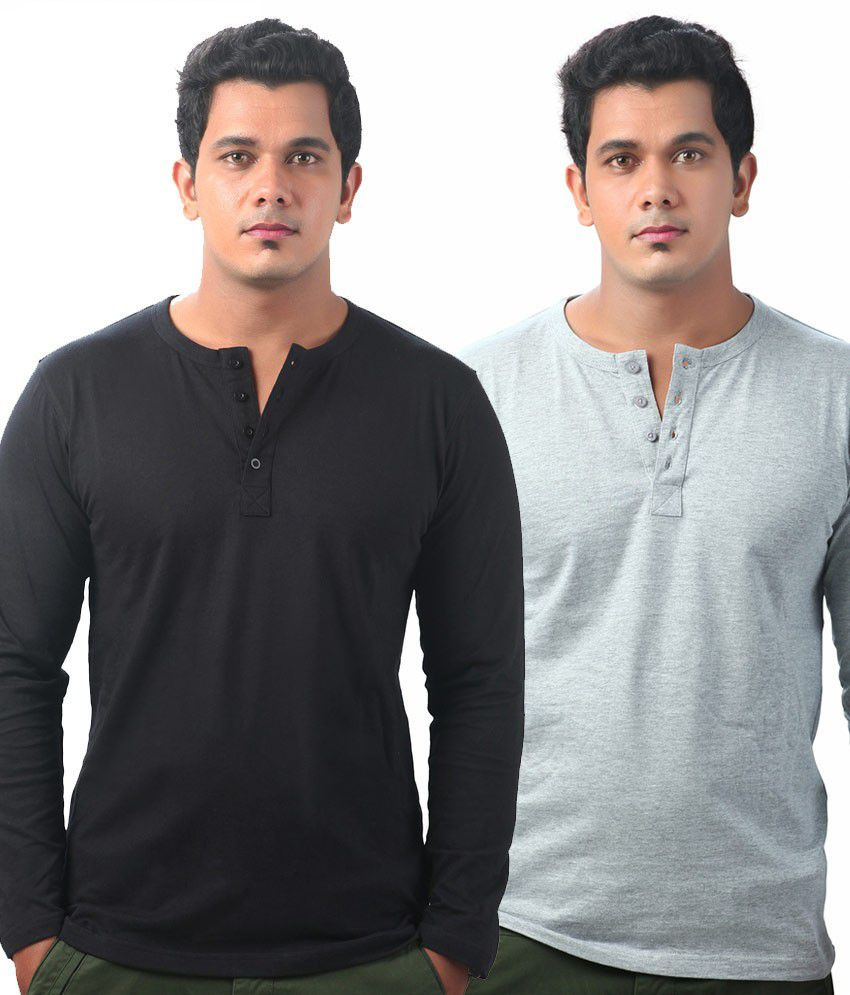 Krook Black-grey Cotton Full Sleeves Henley T-shirt (pack Of 2)