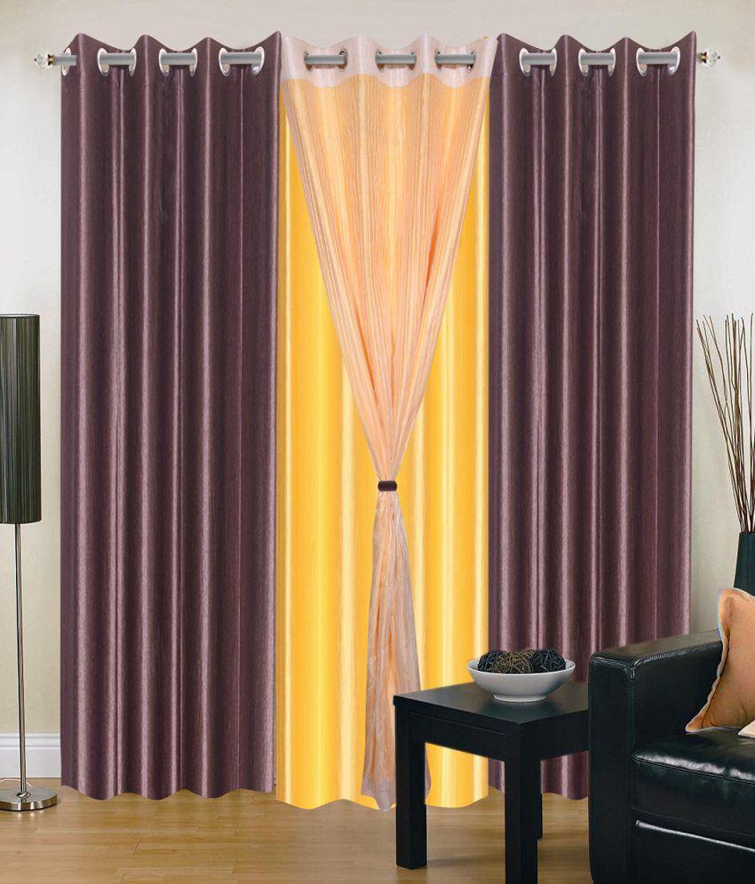 Madhav Product Set Of 4 Door Eyelet Curtains Solid Yellow Brown Buy Madhav Product Set Of 4