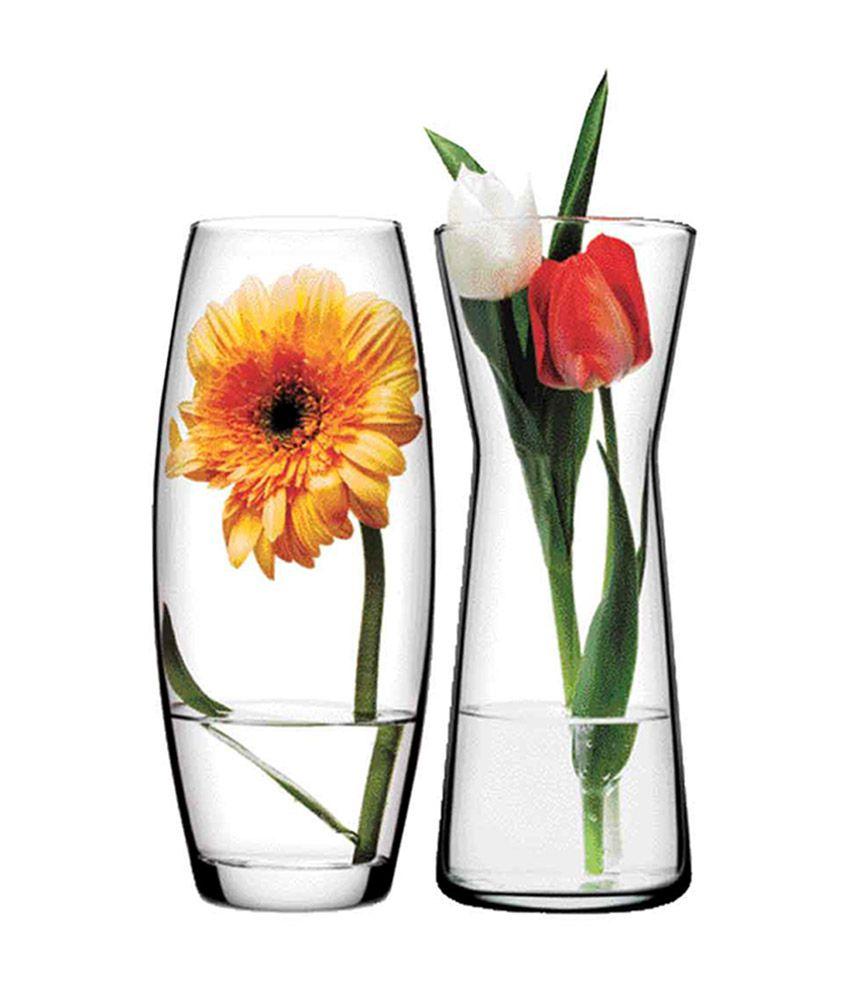 pasabahce glass gardenia flower vase set of 2 - Flower Vase