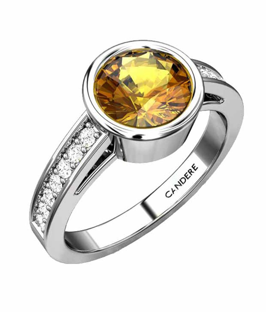 Candere Blasa 18kt White Gold Diamond & Citrine Ring