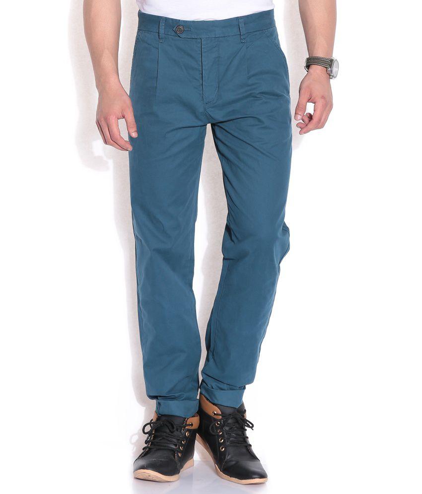 Jack & Jones Blue Regular Casuals Trousers & Chinos