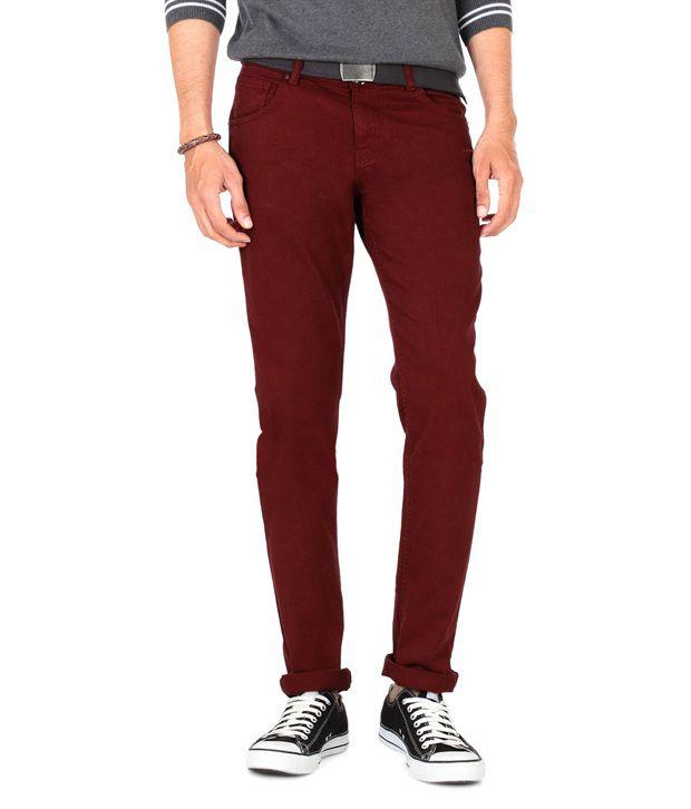 People Maroon Regular Jeans