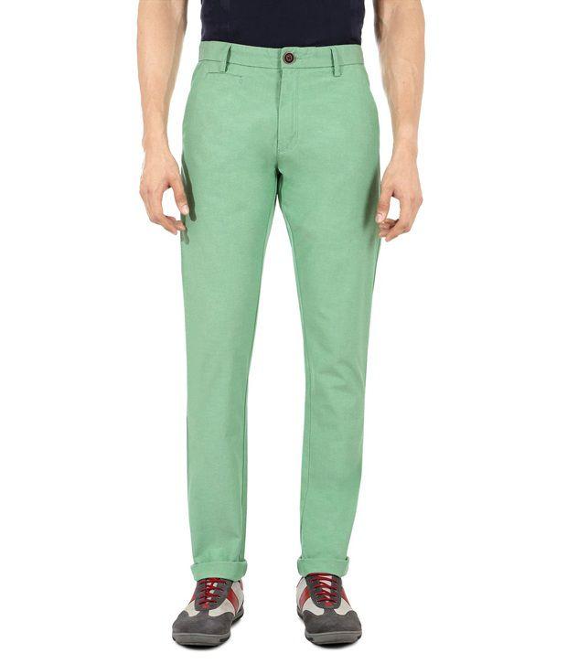 Peter England Green Slim Casuals