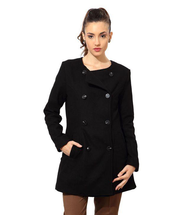 Van Heusen Black Polyester Round Neck Jackets