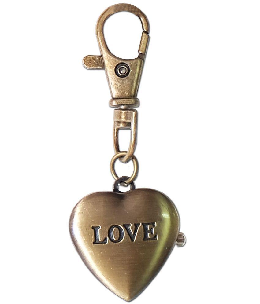 Lovemysuperhero Metal Antique Metal Heart Keychain With Watch Charm