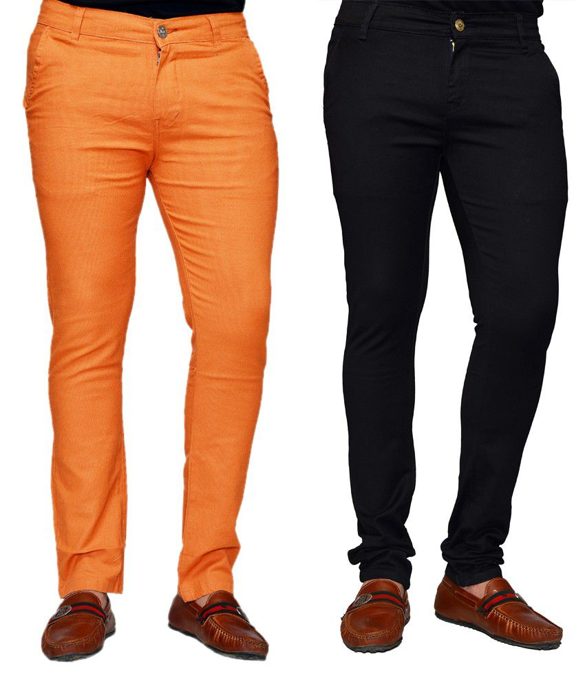 Sam & Jazz Cotton Stretchable Chinos- Orange And Black