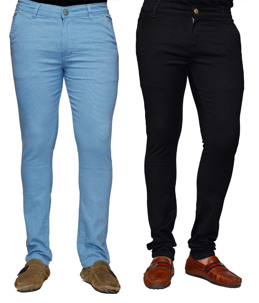 Sam & Jazz Cotton Stretchable Chinos- Blue And Black