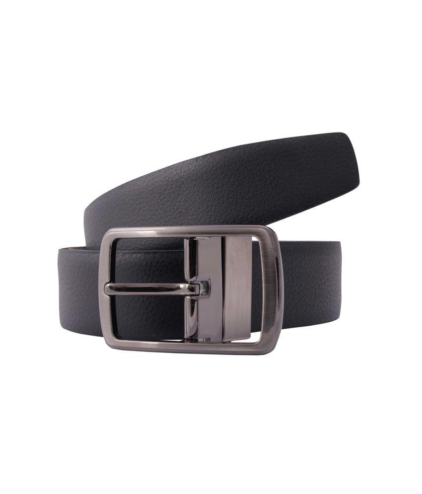 Belbuc Black Leather Reversible Formal Belt For Men