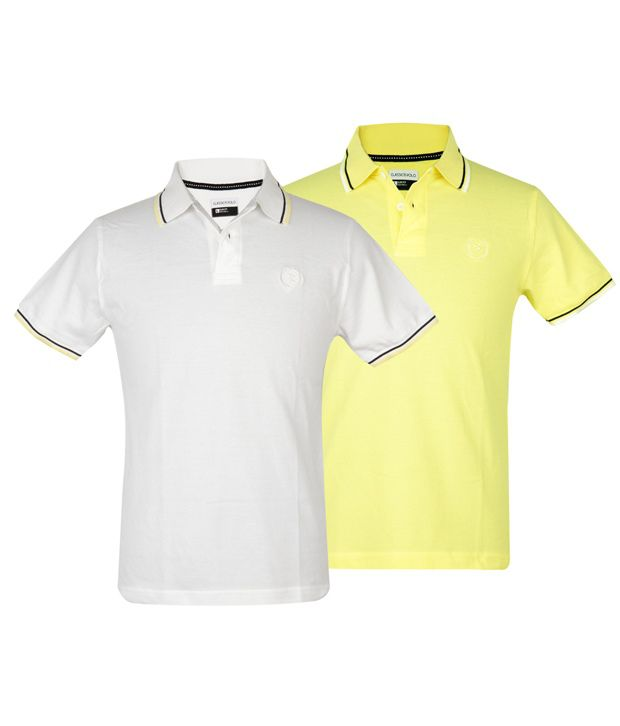 56b06a38 Classic Polo Twin Pack(white/yellow) Polo Slim Fit T-shirts - Buy Classic  Polo Twin Pack(white/yellow) Polo Slim Fit T-shirts Online at Low Price ...