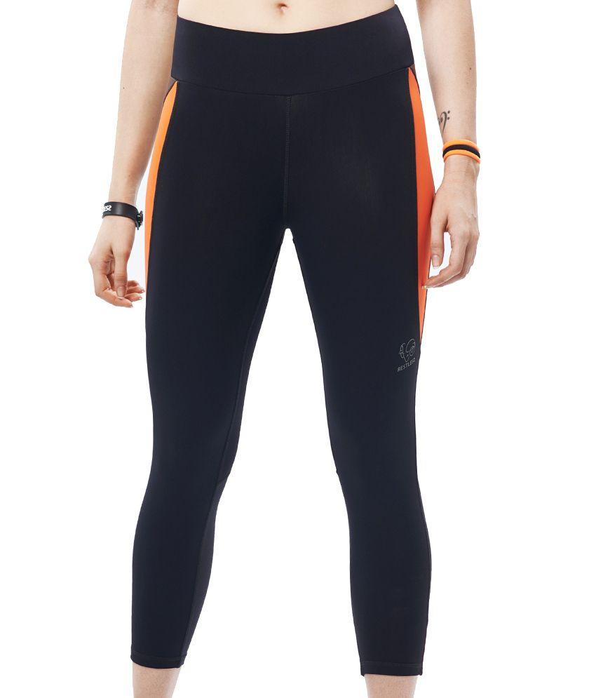 Restless Black/Orange Capri (Breathable Fabric )